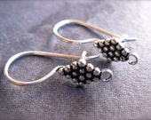 Diamond Dot French Ear Wires with safety hook in Solid STERLING SILVER