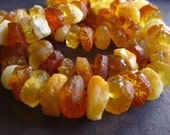 8 inches of Rough Cut Amber - heishe style - center drilled - beads