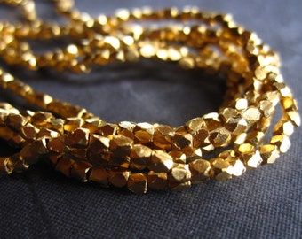 Vermeil faceted cube beads - gold plated over sterling silver - 2mm X 2mm - 8 inches worth