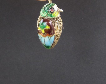 Vintage Chinese Cloisonne Enamel Bird Pendant with Sterling