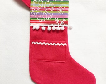 Felt Stocking, Pocket Stocking, Pocket Peeper - Snow Stripe, Hot Pink, Snowflakes