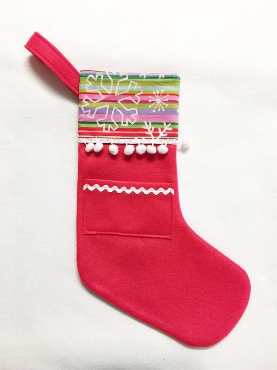 Felt Stocking, Pocket Stocking, Pocket Peeper - Snow Stripe, Hot Pink, Snowflakes