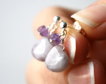 Purple Gemstone Earrings Stud Sterling Silver . Purple Jasper Earrings . Purple Dangle Post Earrings Drop - Cayman Collection