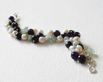 Sterling Silver Charm Bracelet Pearl Amethyst Amazonite Gems
