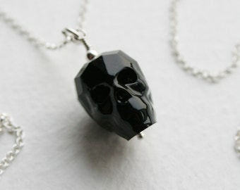 Sterling Silver Black Crystal Skull Charm Necklace