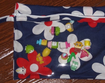 Twilight Lil plain Jane flowers medium zippered pouch with vinyl front and swivel hook