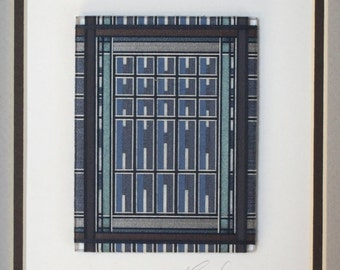 Framed Thread Wrapping with Blue and Brown in a Black Craftsman style Frame with Double Matte