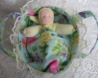 Waldorf Bunting Doll,Waldorf Baby and Bed Set, Pocket Doll, Soft Doll Bed, Doll Cradle,Doll Bassinet, Ready to Ship