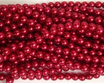 New 100 Round Czech Glass PEARL Beads RUBY RED 4mm