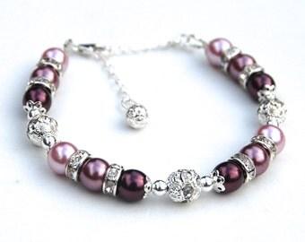 Plum, Eggplant and Mauve Pearl Bracelet, Rhinestone Jewelry, Bridesmaid Jewelry, Shades of Purple Bracelet, Pearl Rhinestone Bracelet
