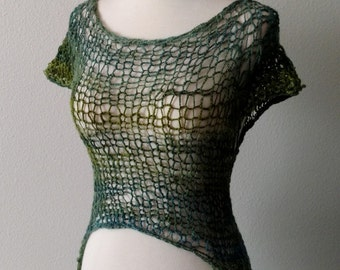 Loose Knit Layering Top in Handspun Hand-Dyed Yarn - Blue Green Aqua Handknit Handmade Boho Layering Fall Fashion. 100% wool, uneven hem