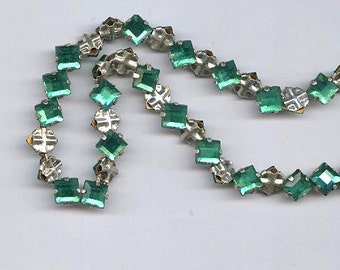 sea green vintage rose montees TWENTY FIVE 5mm square shape or 7mm on diagonal diamond shape montees, sew ons, prong set faceted crystals