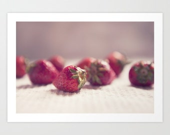 food photo red strawberries- Sweet Goodness fine art photograph - modern food photography- kitchen decor- kitchen wall art
