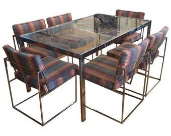 Vintage Milo Baughman Chrome Dining Set