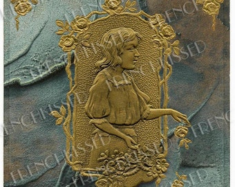 Art Nouveau Girl with Flowers Gold Embossed on Marbleized Paper Antique Postcard Digital Scan