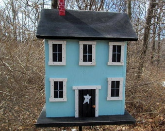 Folk Art Rustic Country Primitive Saltbox Home Decor Garden Carolina Blue Birdhouse