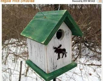 Birdhouse Moose White Green Primitive Rustic Cabin Decor