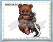 Digital stamp - Stinker - Bear and skunk printable digi image
