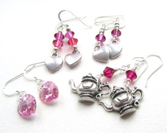 One Pair Sparkly Crystal Earrings Teapots or Hearts