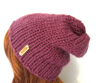 READY TO SHIP / Slouchy Chunky Knit Hat / Aspen / Fig