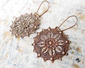 round Gypsy earrings Copper earrings filigree dangle earrings copper anniversary Copper Jewelry
