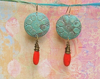 Big round earrings patina rustic red orange dangle earrings Bohemian hippie jewelry