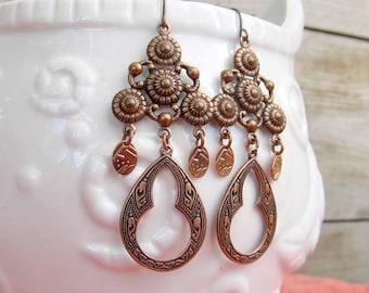 Copper earrings - gypsy earrings - Bohemian jewelry