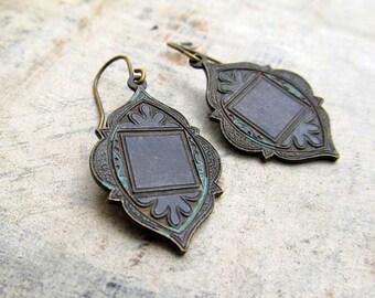 Moroccan earring - black earrings - rustic Ethnic dangle earrings - Boho bohemian Jewelry