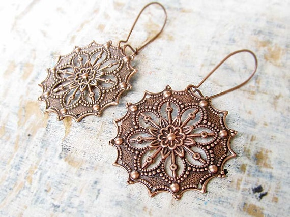 round Gypsy earrings Copper earrings filigree dangle earrings copper anniversary Copper Jewelry