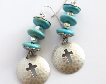 Silver Cross Earrings, Silver and Turquoise Cowgirl Earrings, Turquoise Earrings, Christian Jewelry Gift for her, JewelryFineAndDandy, SRAJD