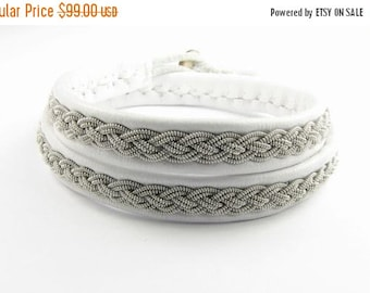 CIJ SALE White Double Wrap Sami Bracelet - Leather Wrap Tin Metal Thread Braided Bracelet with Reindeer Leather and Antler Button Clasp