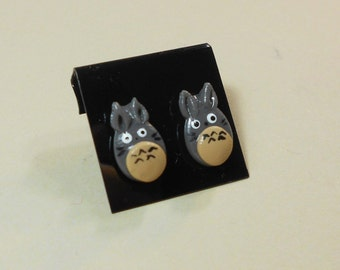 My neighbor Totoro inspired earrings Ghibli Miyazaki anime polymer clay surgical steel post
