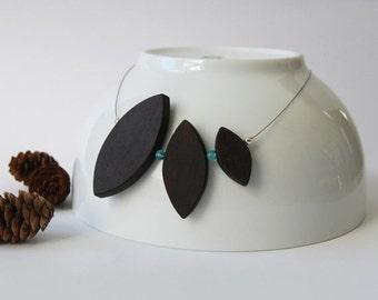 50% off minimalist wood geometric necklace with glass bead