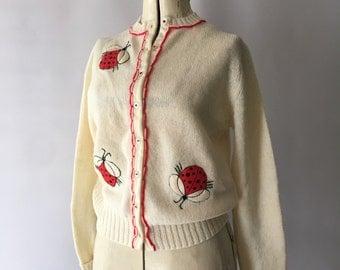 LadyBug Sweater Vintage Shetland Wool Sweater w Embroidered Appliqués 1950's Hadley Be Gay