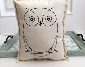 hand painted owl pillow, painted hand drawn owl pillow cushion, natural cotton owl boho urban style simple modern bird owl pillow,No. 4