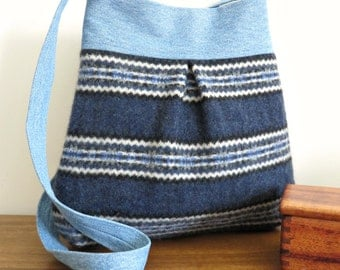 Bella Purse, Blue Stripes Sweater Wool and Denim, Upcycled Handbag/Tote in Repurposed Wool and Denim