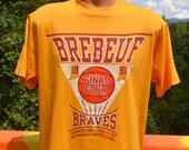 vintage 90s tee shirt BREBEUF high basketball champs hoosier dome t-shirt XL Large braves 1991