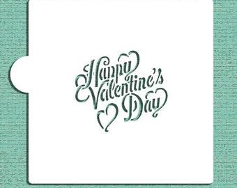 Chalkboard Written Happy Valentine's Day Cookie and Craft Stencil - Designer Stencils (CM049)