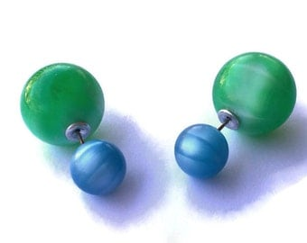 Double Sided Earrings - Turquoise & Green Moonglow 2 Sided studs - Vintage Lucite Faux Plugs