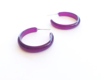 Purple Hoop Earrings | Dark Purple Moonglow Skinny Perfect Hoops | vintage lucite Leetie Lovendale