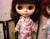 Lovey Dovey Flannel Pajamas and Sleep Socks for Blythe, Pullip and Vintage Skipper