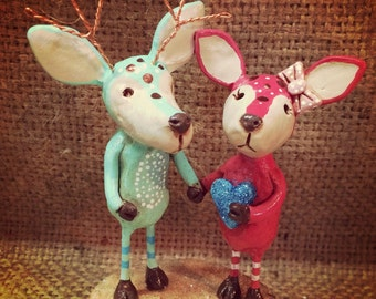 OOAK Love Deer wedding cake topper sculpture Ready to Ship for your woodland wedding