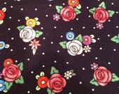 Black Floral Fabric - 1 2/3 Yards - Black Pink Floral / Floral Cotton / Floral Fabric / Pink and Black / Englebright Floral
