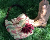 Tapestry Floral Gathered Bag Red Leather Flower