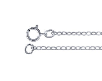 Sterling Silver 1.5mm Flat Cable Chain, Set of 2, Made in USA Sterling Silver Finished Necklace, 16 in Sterling Silver Cable Chain Necklace