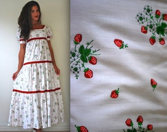 SALE SECTION / 40% OFF Vintage 60s 70s Strawberry Fields Tiered Maxi Dress (size xs, small)