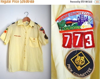 SUMMER SALE / 20% off Vintage 80s Boy Scouts of America Yellow Short Sleeved Button Down Shirt