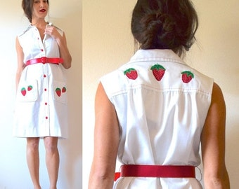 SUMMER SALE / 20% off Vintage 60s 70s Strawberry Patch White and Red Button Down Butterfly Collar Appliqued Belted Shirt Dress (size small,