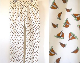 SPRING SALE/ 20% off Vintage 50s 60s Dozi Collection for IZOD Sailboat Print Trousers