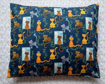 Window Seat Kitty Cats Birdies On Blue Smooth Cotton